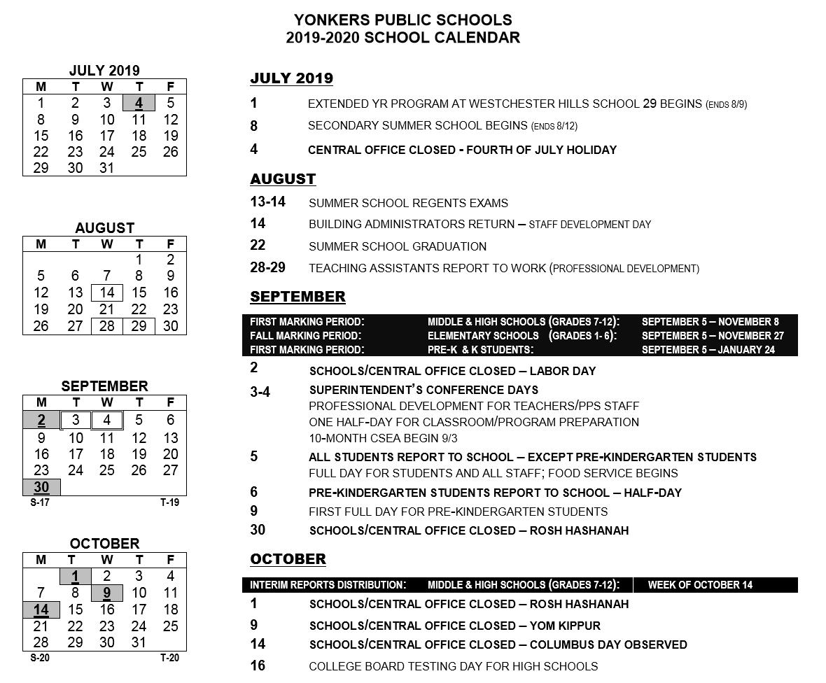 Yonkers School Calendar 2021