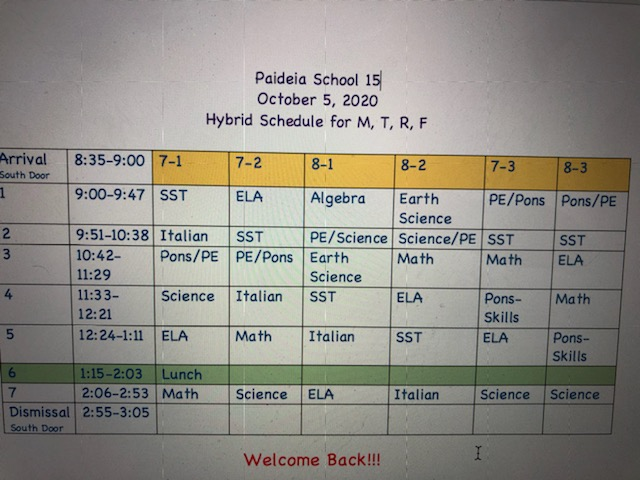 7th and 8th grade schedule