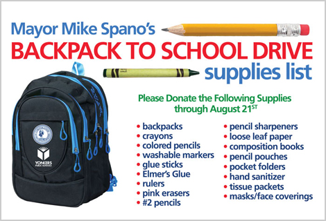Backpack to School Drive with list of requested supplies