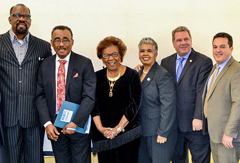 Regent Johnson, 3rd from left, celebrates Yonkers My Brothers Keeper