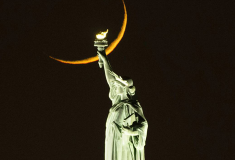 Lady Liberty and the Crescent Moon