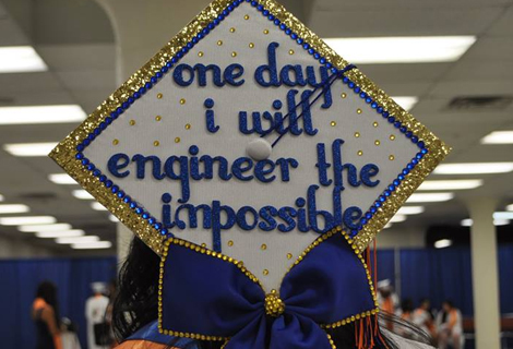 Student homemake mortarboard with the inscription Someday I will Engineer the Impossible