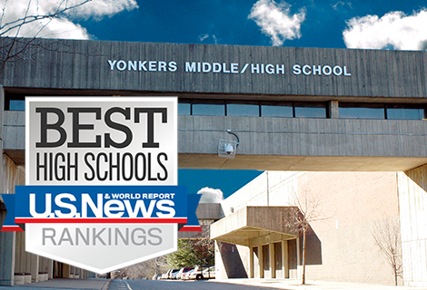 Photo of Yonkers Middle High School with a U.S. News Badge Floating on Top