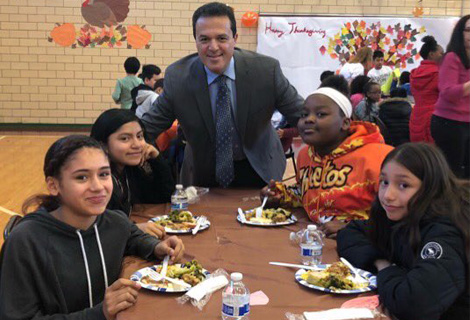 Superintendent with Boyce Thompson students who enjoyed a Thanksgiving feast..