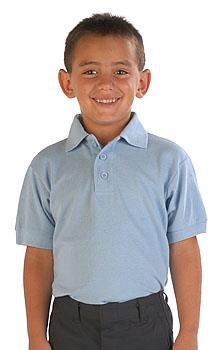 The school uniform is a light blue shirt with dark blue pants.